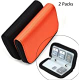 Memory Card Cases, 2 Packs Bestshoot Memory Card Holder Bags Pouch Organizer Keeper 22 Slot SD Micro SD CF SDHC SDXC MMC Secure Digital Compact Flash Cards Wall Bags for Media Storage (Orange & Black)