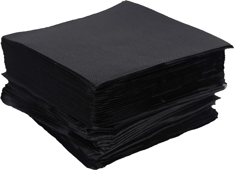 100 serviettes noires 33cm 2 /épaisseurs