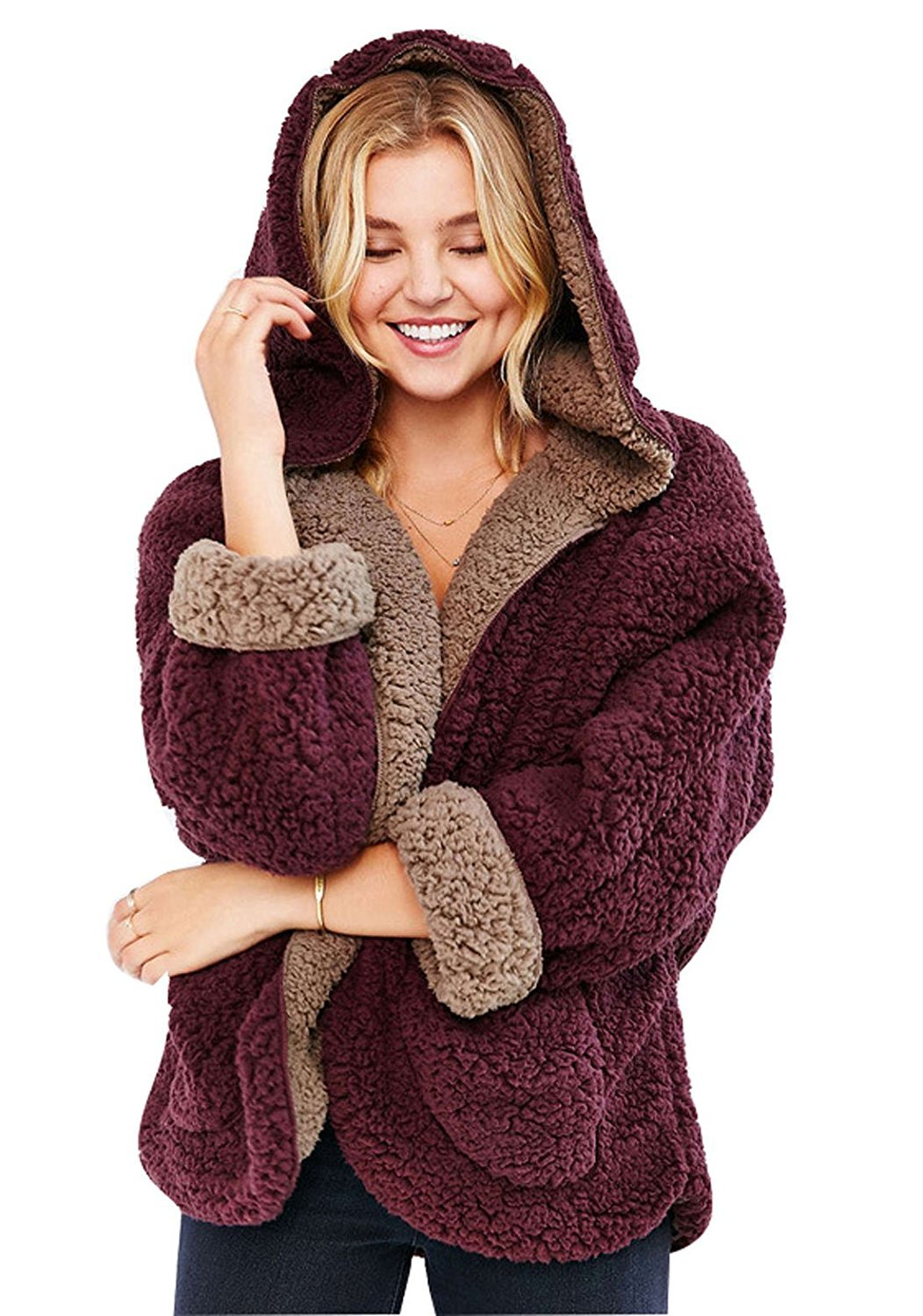 Choies Women's Faux Fur Hooded Coat Winter Lovely Double-Side Faux Lamb FurCardigan,Burgundy,Large