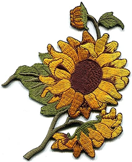 2c7ef7b987 Sunflower Flower Granny Chic Retro Boho Sew Sewing Applique Iron-on Patch  S-494 Free Shipping