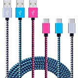 Type C Charger Cable, Sixsim 3 Pack 6ft Nylon Braided USB C Charger Cable for Samsung S8 S8+, Note 8, Google Pixel/Pixel XL, Nexus 6P/5X, OnePlus 5/3/2, LG V20/V30/G6/G5, HTC 10, ZTE ZMax Pro, Honor 8