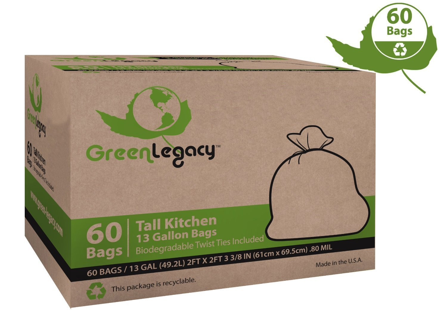 Green Legacy Tall Kitchen Trash Bags - 60 Bags/Box ON SALE! (17 Cents/Bag)