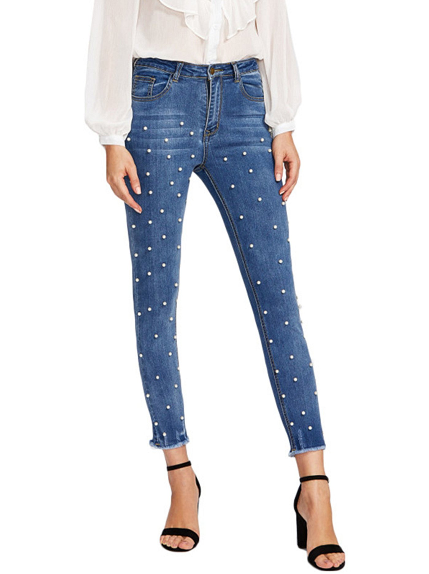 Women's Classic High Waist Slimming Fit Stretch Pearl Jeggings Skinny Jeans Blue US 10
