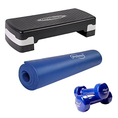 Physionics - Esterilla de fitness azul de grosor 1,5 cm, step y 2