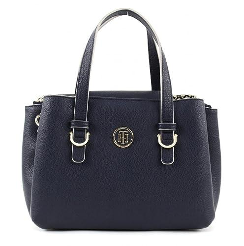 Tommy Hilfiger TH Core M Satchel Logo Blau AW0AW04143-901 Damen Handtasche Tasche Henkeltasche Schul...