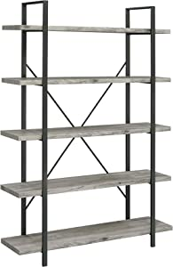 Coaster Home Furnishings 5-Shelf Grey Driftwood and Gunmetal Bookcase