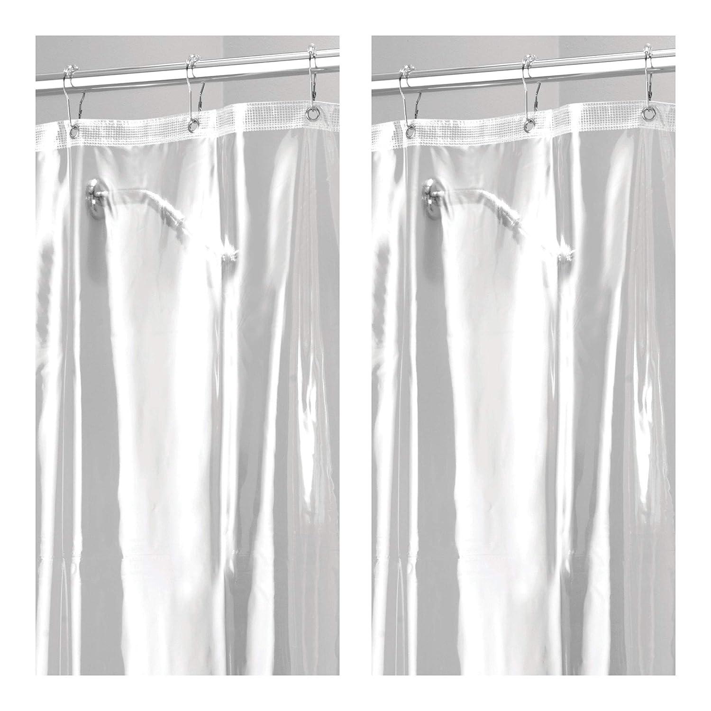 mDesign Long Waterproof, Mold/Mildew Resistant, Heavy Duty Premium Quality 10-Guage Vinyl Shower Curtain Liner Bathroom Shower Stall Bathtub - 72