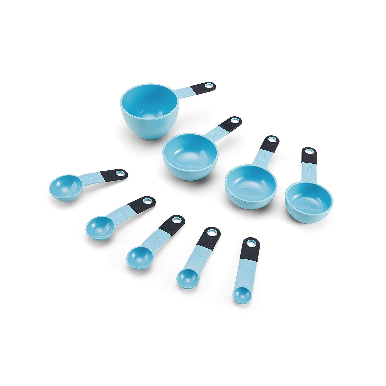 KitchenAid KE475OHAQA Classic 9-Piece Measuring Cup and Spoon Set, One Size, Aqua Sky/Black