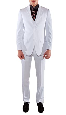 ab93a2df3f9c Ferrecci Men's Savannah White Slim Fit 3 Piece Suit 36R at Amazon Men's  Clothing store: