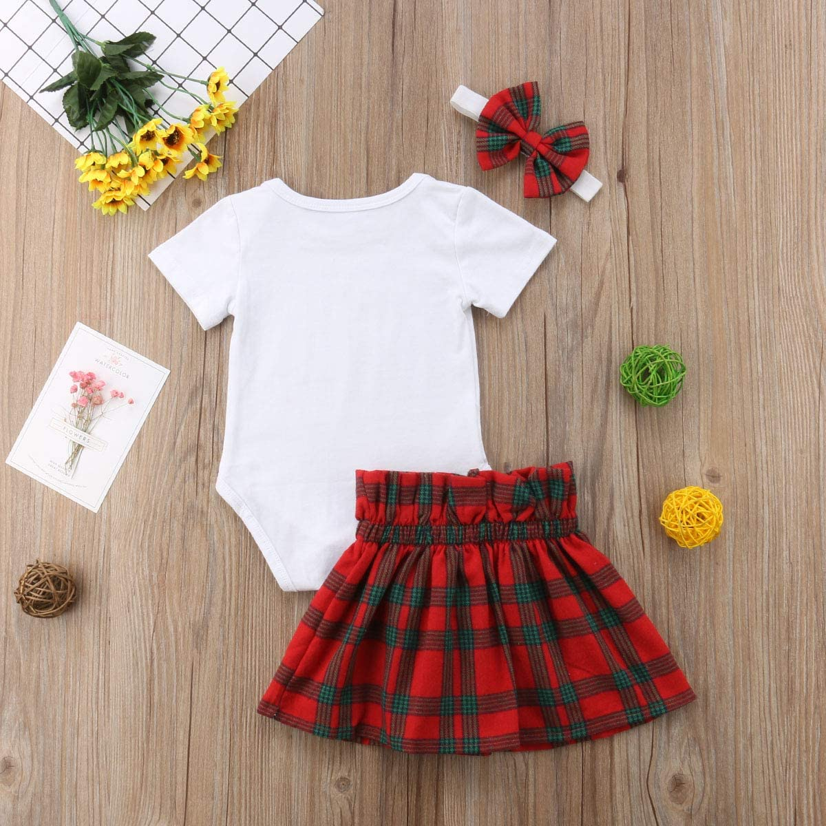 Infant Baby Girl Christmas Outfit Santa Baby Romper Bosysuit+Plaids Skirt+Bow Headband Clothes Set