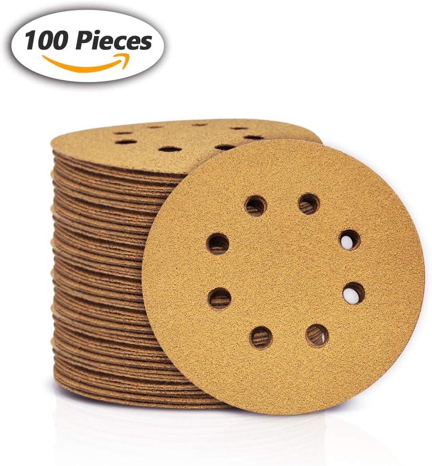 Grano 100 discos de acabado amarillo para carpinter/ía automotriz SPEEDWOX 100 discos de lija de 125 mm con 8 agujeros sin polvo con gancho y papel de lija para lijadora orbital al al azar