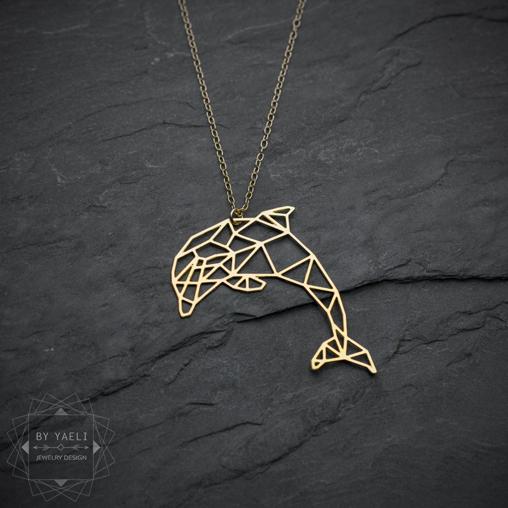Gold dolphin necklace dolphin gifts dolphin dolphin jewelry dolphin necklace dolphin pendant dolphin statement necklace  minimalist jewelry