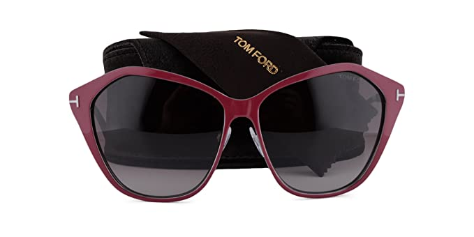 9401934779 Image Unavailable. Image not available for. Color  Tom Ford Lena FT0391  Sunglasses Shiny Burgundy w Brown ...