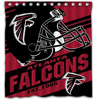 Potteroy Atlanta Falcons Team Stripe Design Shower Curtain Waterproof Mildew Proof Polyester Fabric 66x72 Inches