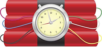 EXPLOSIVE DYNAMITE BOMB WITH CLOCK TICKING TIME BOMB RED BLACK GREY YELLOW PINK BLUE BLACK GREEN