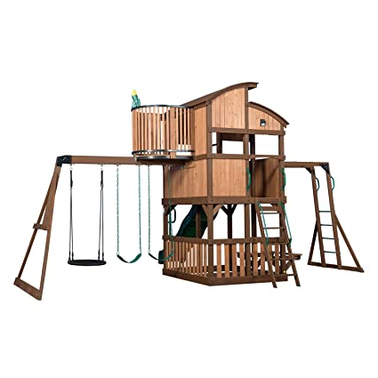 Amazon Com Cedar Park At Home Swing Set Forts Slide Club House