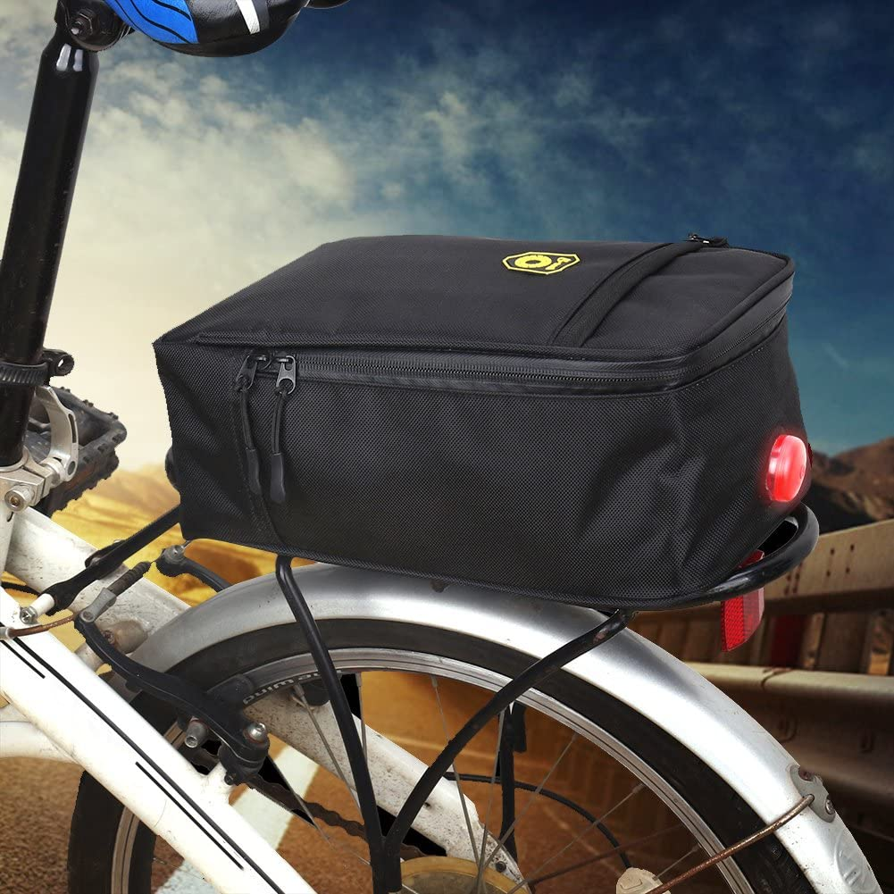 Bike Trunk Bag,SHZONS Bike Rear Seat Bag,Bicycle Backseat Bag Cycling Pannier Rear Rack Trunk Bag Chest Bag with Tail Light,11.02/×6.30/×4.33 in