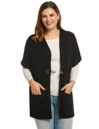 d373775029f Meaneor Women Plus Size Casual Short Sleeve Collarless Solid Loose Cardigan  (xl  us 14w