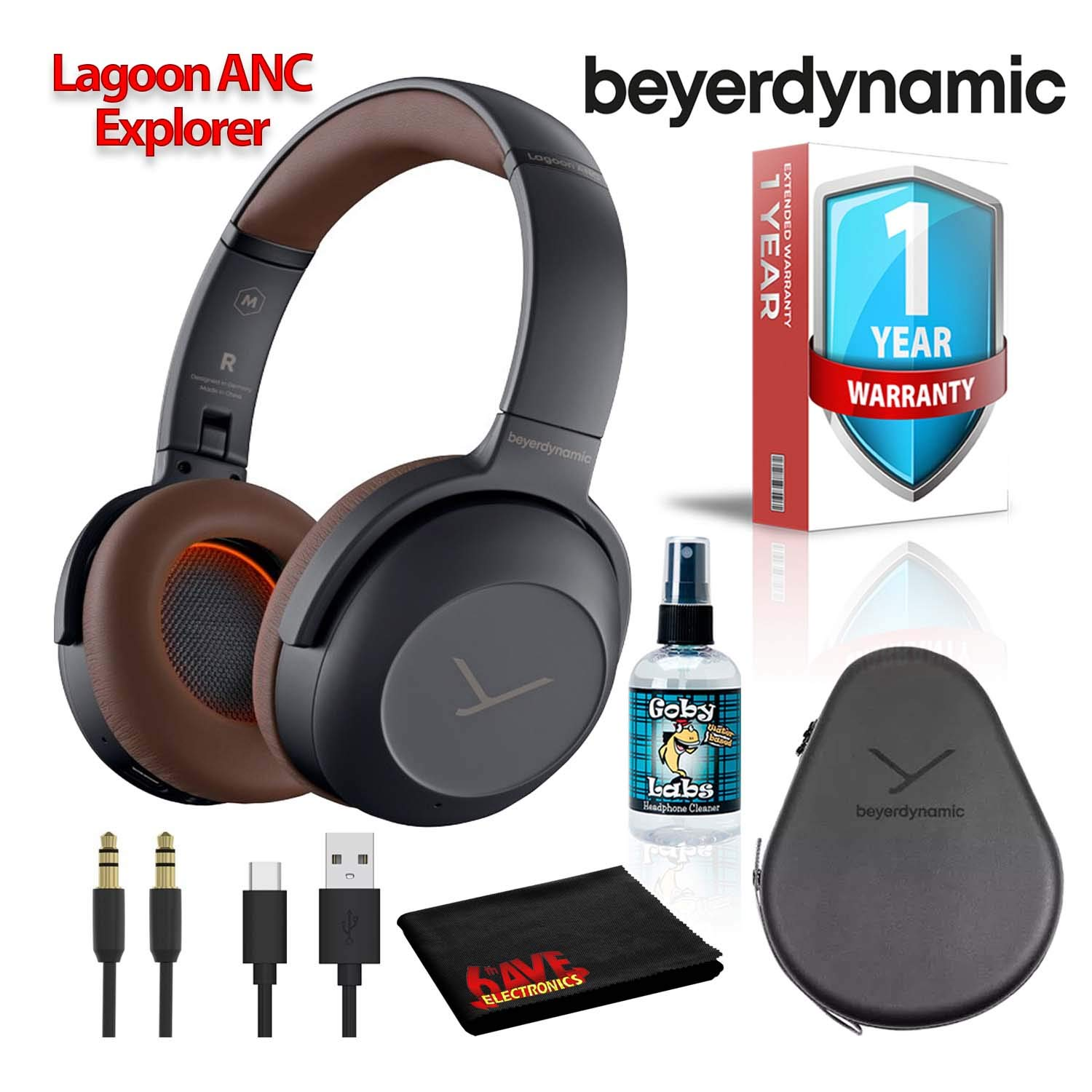 Beyerdynamic Lagoon ANC Explorer Bluetooth Over-Ear Headphones with ANC and Sound Personalization (Grey/Brown) with Hard Case, 6Ave Cleaning Kit, and 1-Year Extended Warranty