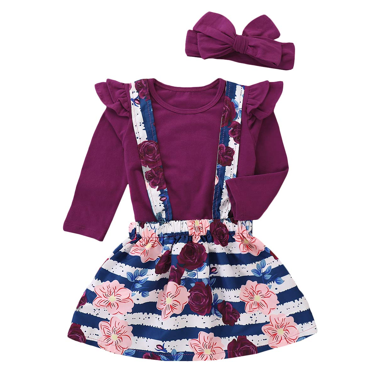 Toddler Baby Girls Ruffle Long Sleeve Tops Floral Suspender Stripe Skirt Outfit Set