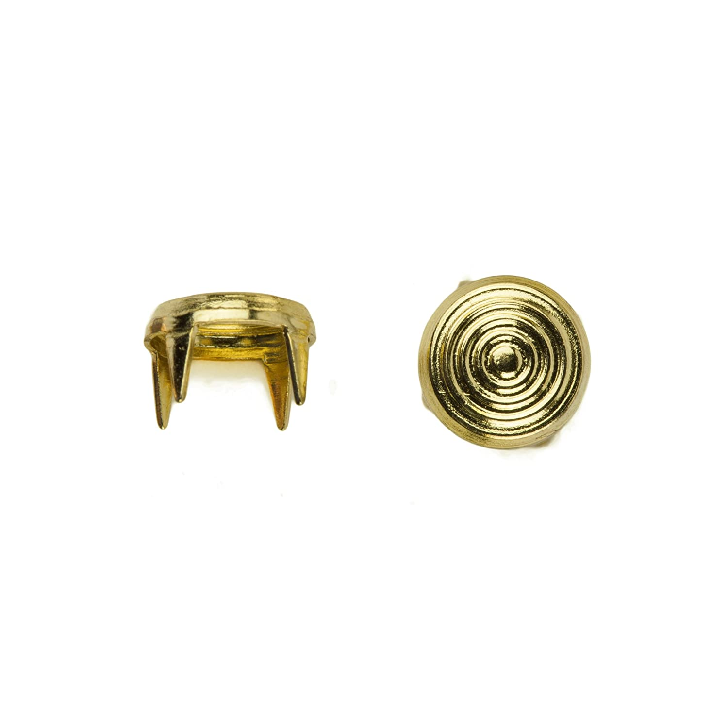 C C Metal Products Corp 6220 Concentric Circle Nailhead Size 20 Solid Brass Gold 500 Pack