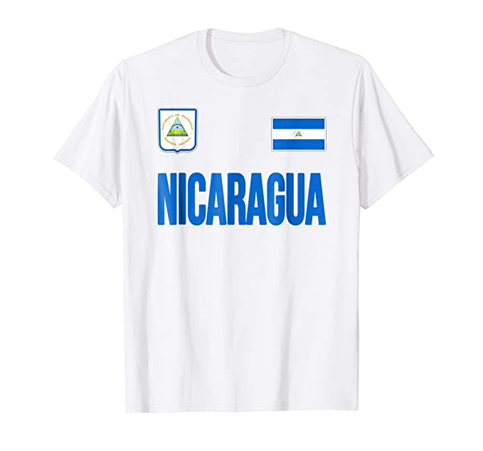 Mens Nicaragua T-shirt Nicaraguan Flag Soccer Football Fan Jersey 2XL White