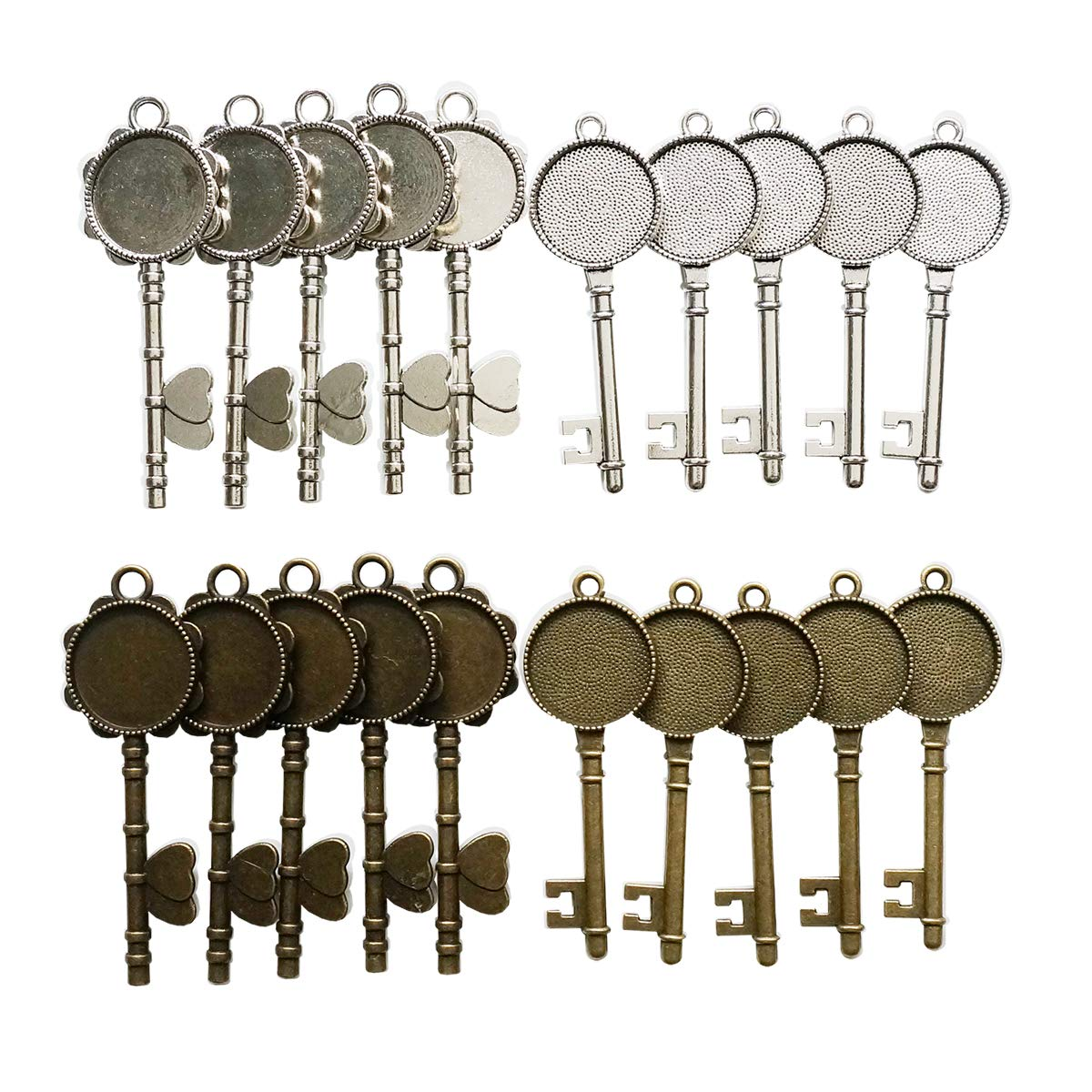 Gnognauq 20 Pcs Vintage Skeleton Keys Pendant Trays with 20 Pieces Glass Dome Tiles Cabochon for Jewelry Making Necklaces Accessories (Antique Bronze and Silver)