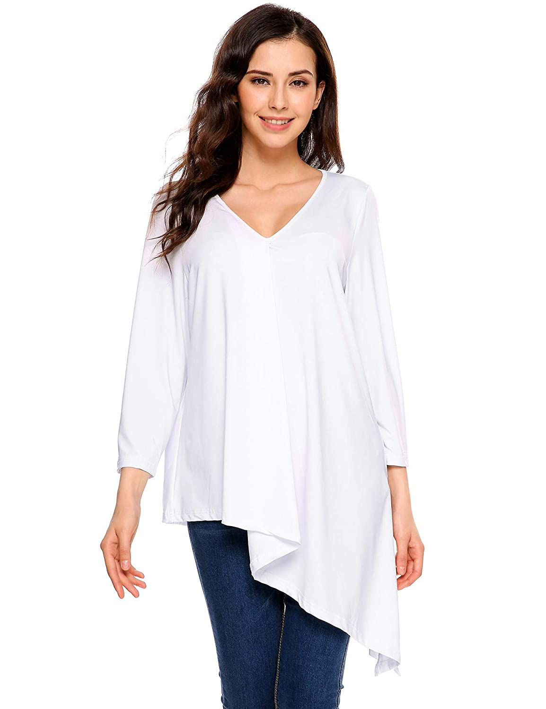 Tauser Vestito Lungo dalla Manica Lunga del Manicotto del V-Collo con Cappuccio Asimmetrico Allentato Casuale T-Shirt