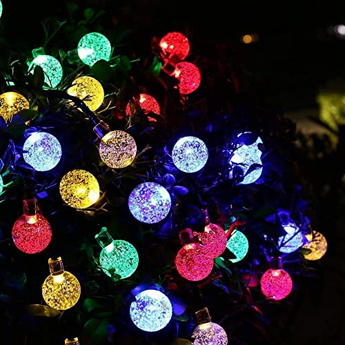 Bripower Garden Solar Lights, 50 LED 24ft 8 Modes Waterproof Outdoor String Lights Globe Crystal Balls Fairy Lighting for Patio Party Home Garden Yard Wedding Christmas Decoration Multicolor