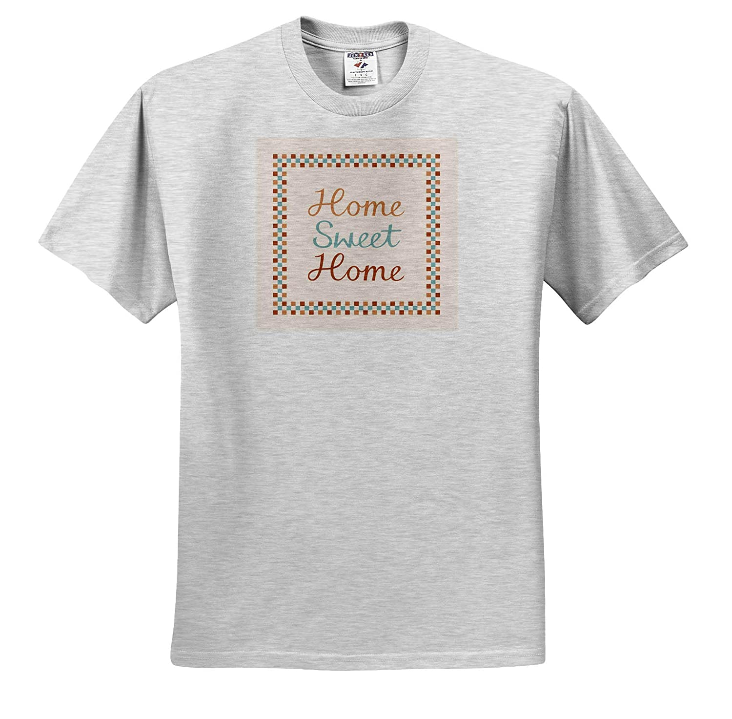 Cream and Terracotta Colors 3dRose Natalie Paskell Typographic Designs - T-Shirts Home Sweet Home Script in Teal