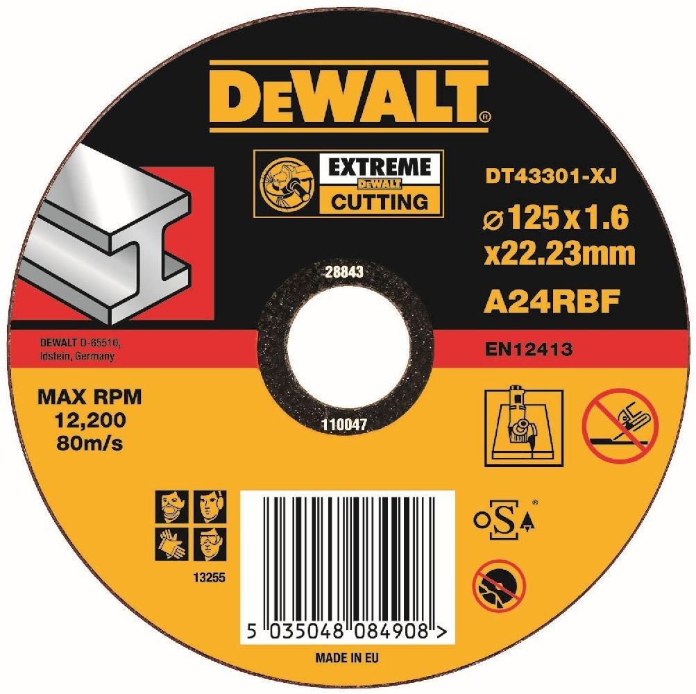 Dewalt DT 43301 Disco de corte de metal, 125 mm x 1.6 mm x 22.2 mm DT43301-QZ