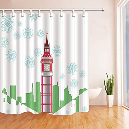 SZZWY Christmas Snowflake Shower Curtains Cartoon Big Ben With Green Cityline For Kids Lover Polyester Fabric