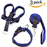 Dog Leash Harness Collar 3pcs Adjustable Denim Harness Heavy Duty Nylon Leash Collar for Large Medium Small Dog,Perfect for Daily Training Walking Running