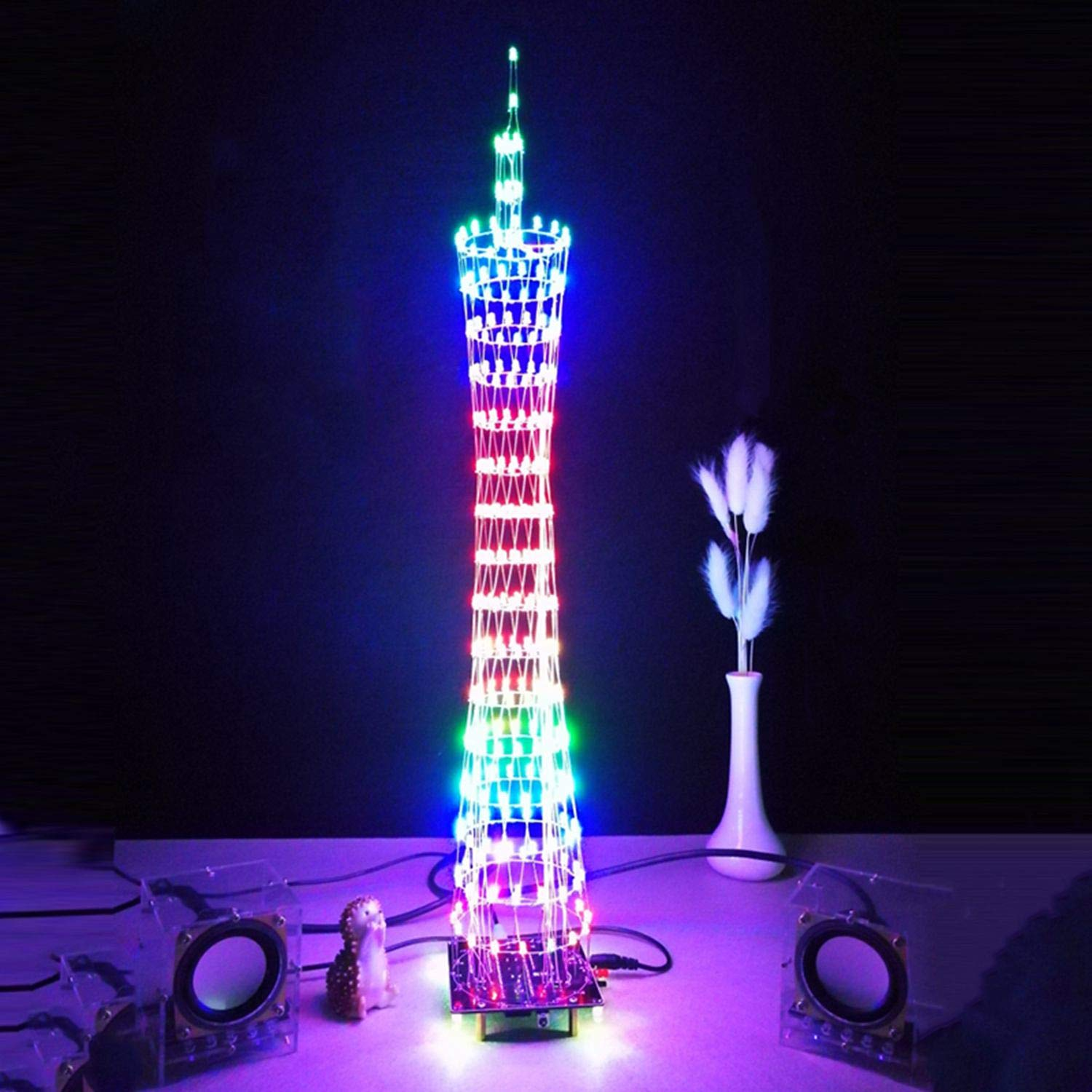 SODIAL DIY LED LightCanton Tower Suite Wireless Remote Control Electronic Kit Music Spectrum Soldering Kits DIY Brain-training Toy