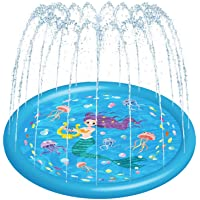 "HITOP Kids Sprinklers for Outside, Splash Pad for Toddlers & Baby Pool 3-in-1 59"" Water Toys Gifts for 1 2 3 4 5 Year Old Boys Girls Splash Play Mat(Mermaid)"