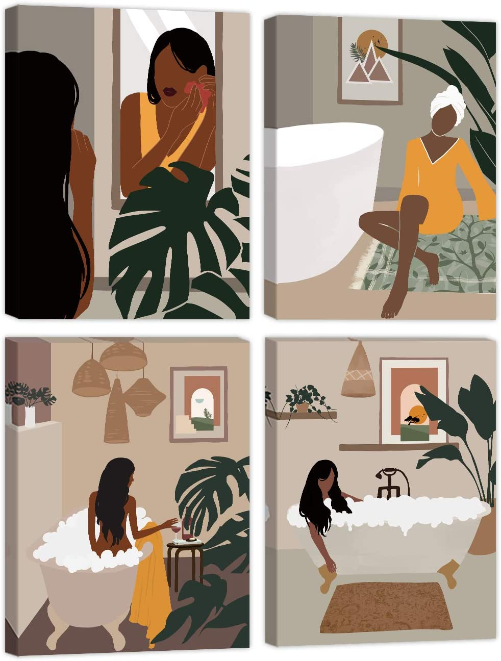 Black Girl Wall Art Bathroom Decor Black Woman Art Paintings for Wall Boho Modern Minimalist Leaf Bathroom Art Mid-Century Girl Bathtub SPA Home Decor for Bedroom Framed Ready to Hang 12x16 inch