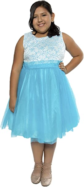 Kid\'s Dream Big Girls Aqua Lace Tulle Plus Size Junior Bridesmaid Dress  14.5-20.5