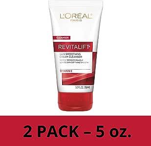 L'Oreal Paris Revitalift Radiant Smoothing Wet Facial Cream Cleanser, 2 count