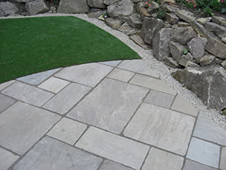 indian sandstone paving tumbled raj green patio pack - Diy Sandstone Patio