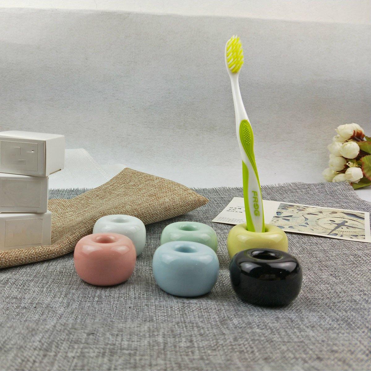 OUNONA 2pcs portaspazzolino in ceramica porta spazzolino da bagno per coppia verde chiaro