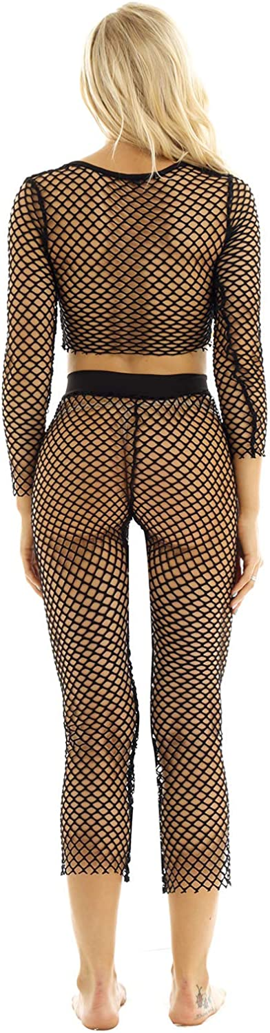 CHICTRY Womens Soft Fishnet Sheer Long Sleeve Crop Top with Long Pants Swimsuit