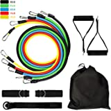 Portable Exercise Resistance Bands Set Stackable, Stretch Fitness Sport Band with Door Anchor,Foam Handle,Metal Foot Ring& Carrying Case Home Workouts,Physical Therapy,Gym,Yoga,Perfect Muscle Builder