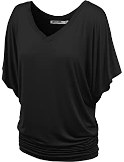 66d9d8f5a3c Lock and Love Women s Solid Short Sleeve Boat Crew Neck V Neck Dolman Top  XS -