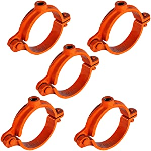 HIGHCRAFT HINGC-03-5 Industrial Decor Hinged Split Ring Pipe Hanger 3 in. Copper , with 7/8 in. Rod Fitting, Vintage Mounting Bracket for Tubing, Shower Curtain, Tiki Torch Hanging (5 Pack)