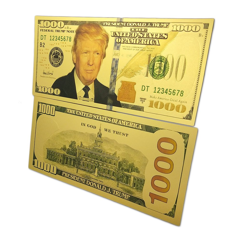 Donald Trump 1000 Dollars Gold Foil Banknote Commemorative 45th  Presidential Gifts of USA for Collection