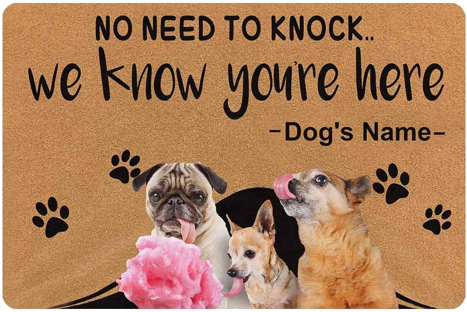 MyPupSocks Custom Personalized Pet Dog Cat Photo Doormat 23.6 x 15.7 Inches Dog Name No Need to Knock Door Floor Mat Outdoor Indoor Front Welcome Mat Kitchen Rug