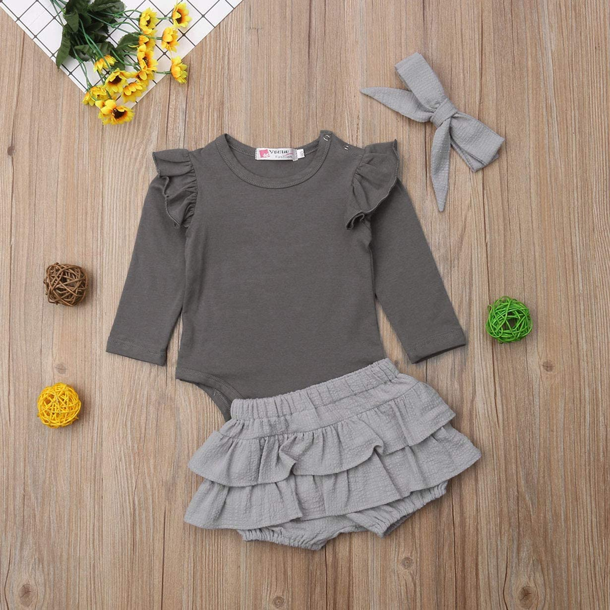 Newborn Baby Girl Long Sleeve Outfit Set Solid Color Romper Ruffle Layers Shorts Bowknot Headband 3Pcs Clothing Sets