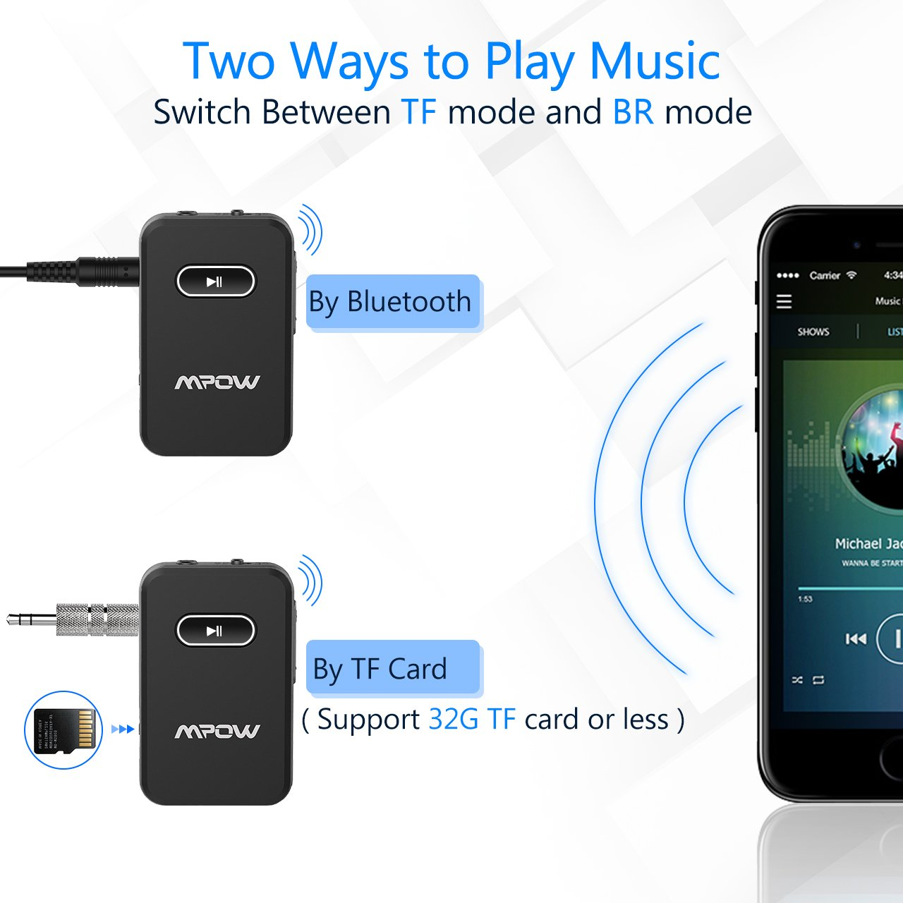Bluetooth AUX Adapter w//Built-in Mic Hands-Free Calls Mpow Bluetooth Receiver Supports 32G SD Card Wireless Bluetooth Car Kits /& Audio Adapter Music Streaming on Car//Home Stereo System