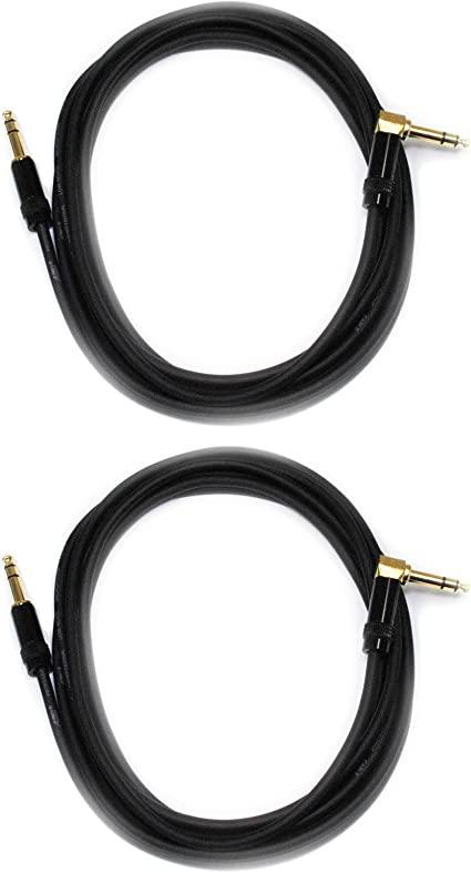 Audio 2000s E26112P2 1//4 TRS Right Angle to 1//4 TRS 12 Ft Cable 2 Pack