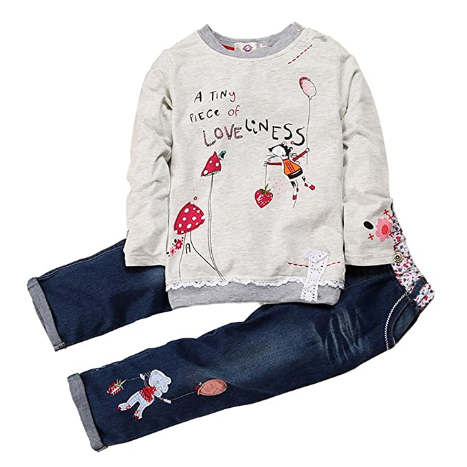 cd4f823c9367 ZHUANNIAN Baby Girls Long Sleeve Sweater Top and Jeans Outfit Set Grey